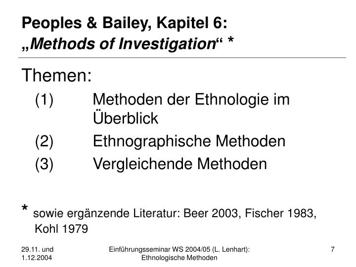 Peoples & Bailey, Kapitel 6: