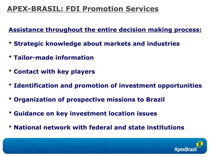 APEX-BRASIL: FDI Promotion Services