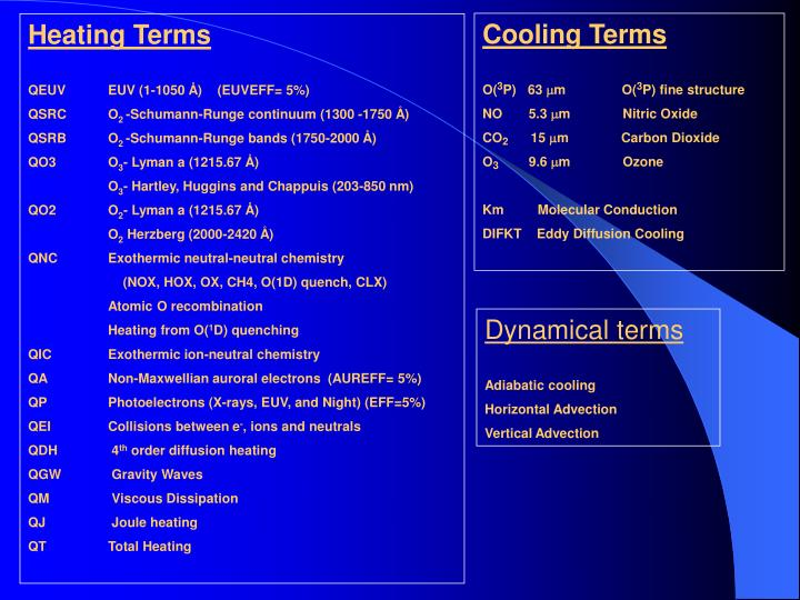 Cooling Terms