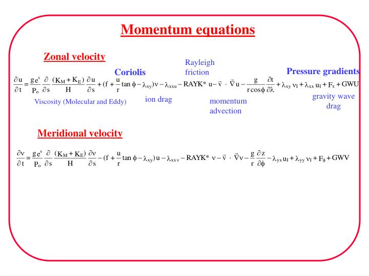 Momentum equations