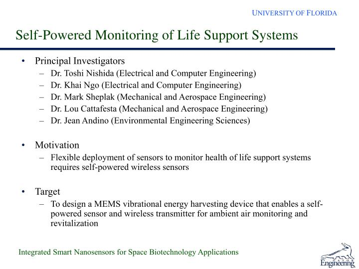 Self-Powered Monitoring of Life Support Systems