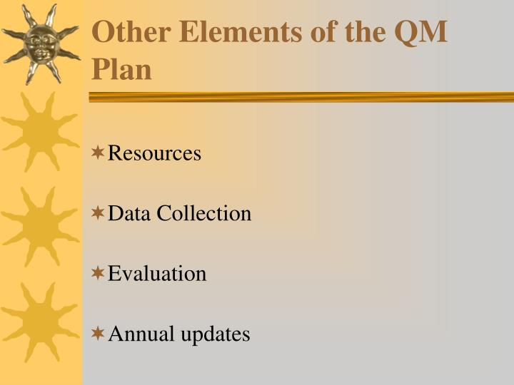 Other Elements of the QM Plan