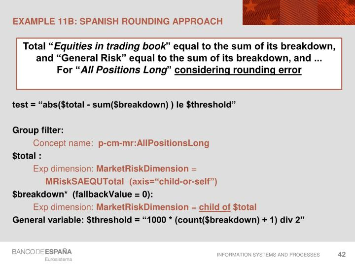 EXAMPLE 11B: Spanish rounding approach