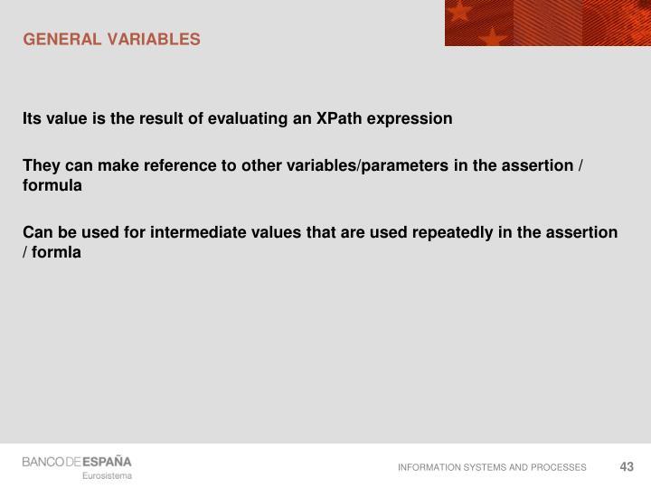 General variables