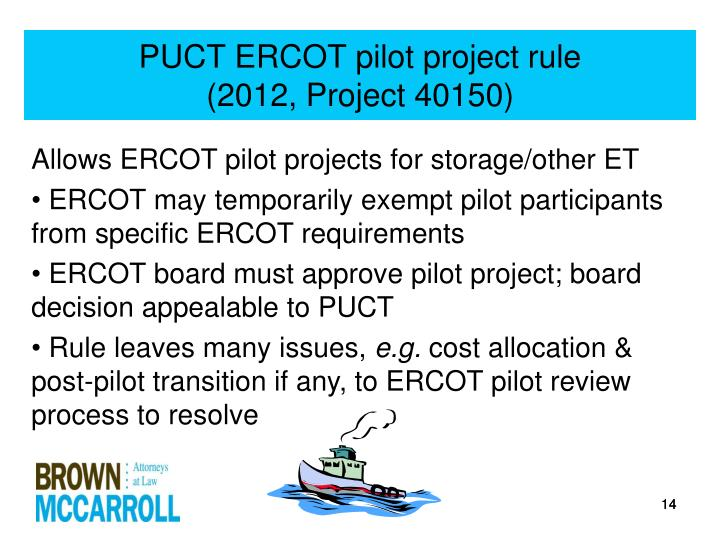PUCT ERCOT pilot project rule