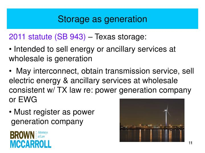 Storage as generation
