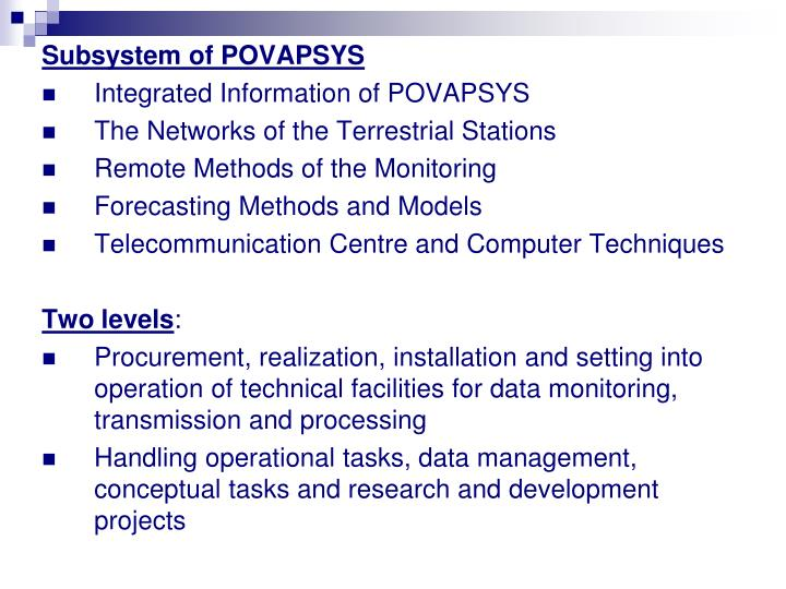 Subsystem of POVAPSYS