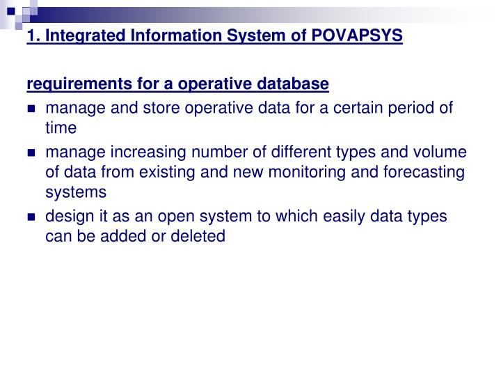 1. Integrated Information System of POVAPSYS