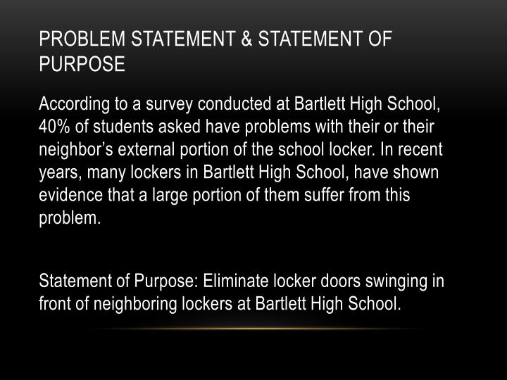 Problem statement statement of purpose