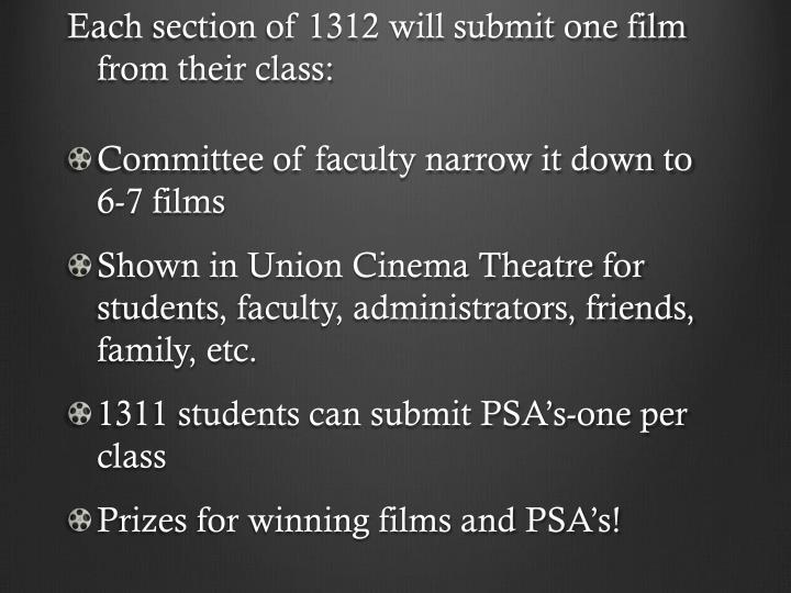 Each section of 1312 will submit one film from their class: