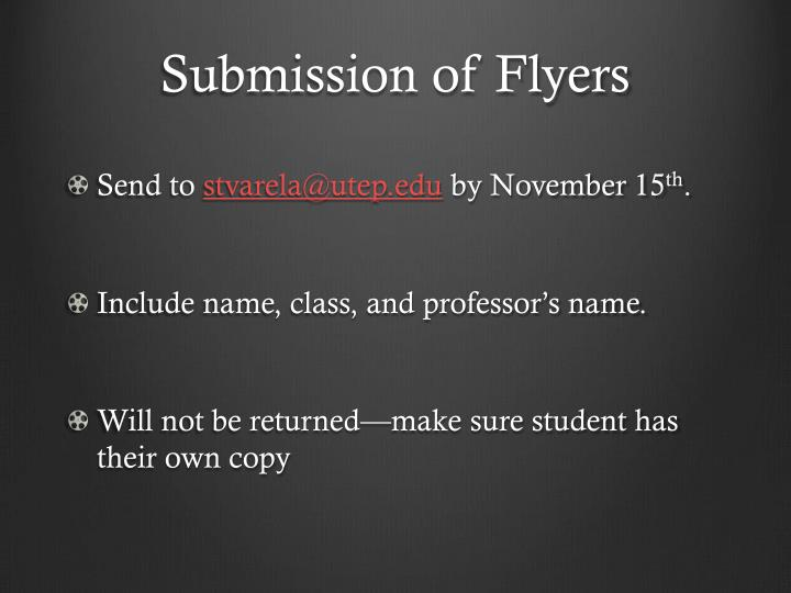 Submission of Flyers