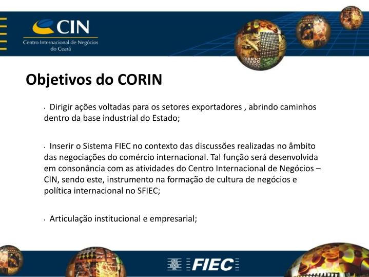 Objetivos do CORIN