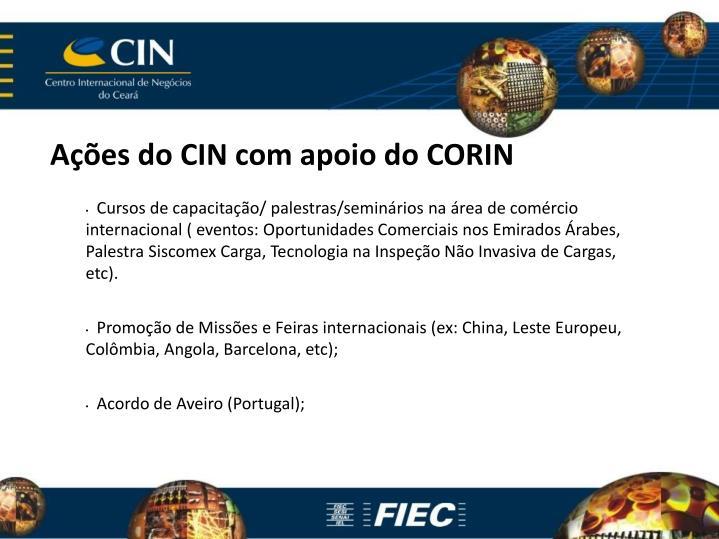 Ações do CIN com apoio do CORIN