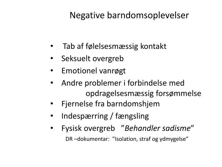 Negative barndomsoplevelser