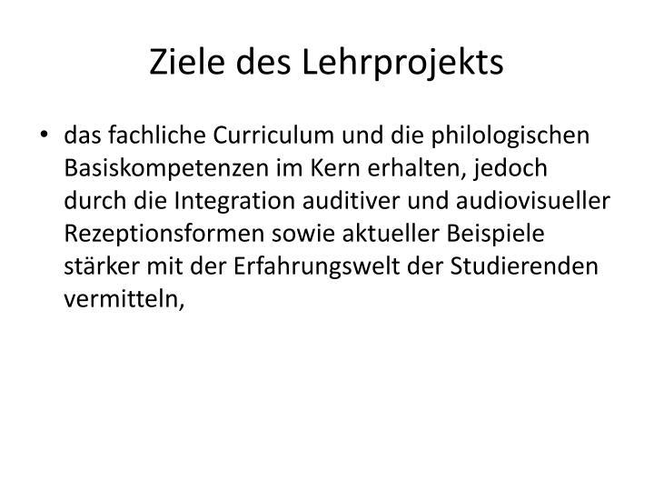 Ziele des Lehrprojekts