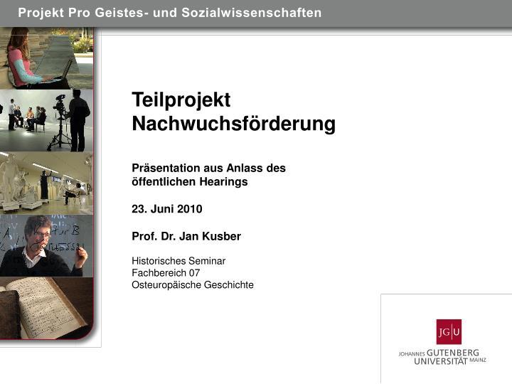 Projekt Pro Geistes- und Sozialwissenschaften