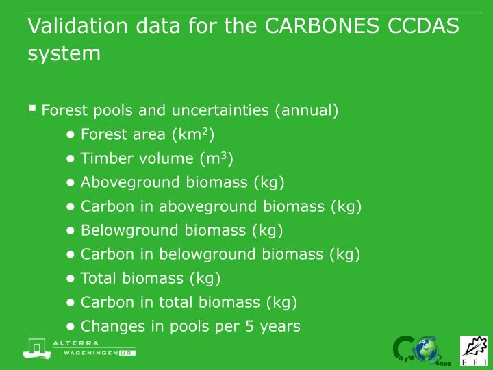 Validation data for the carbones ccdas system