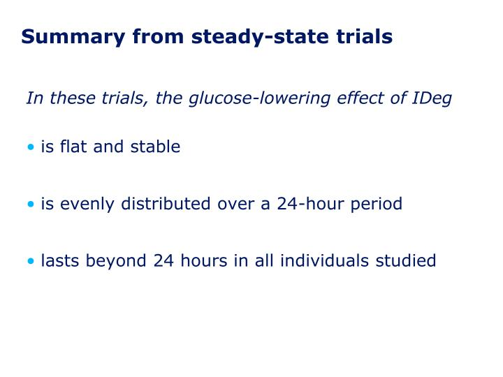 Summary from steady-state trials