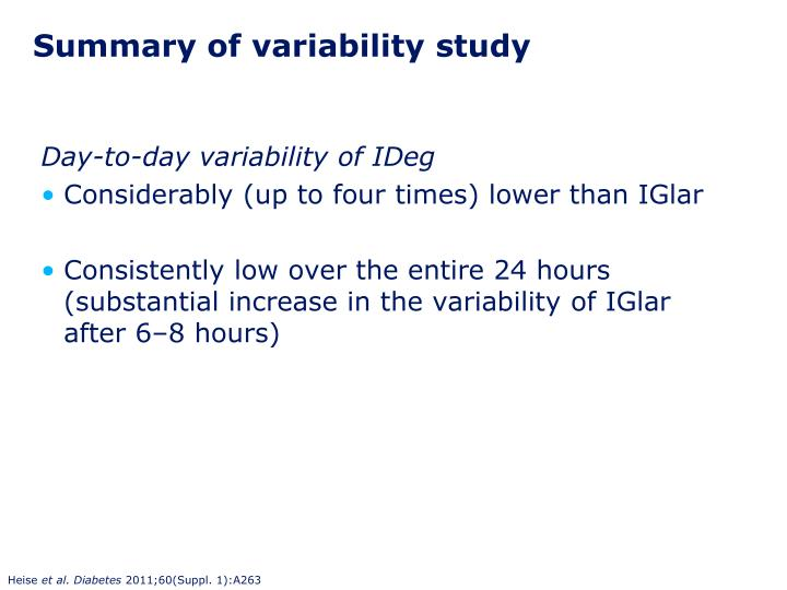 Summary of variability study