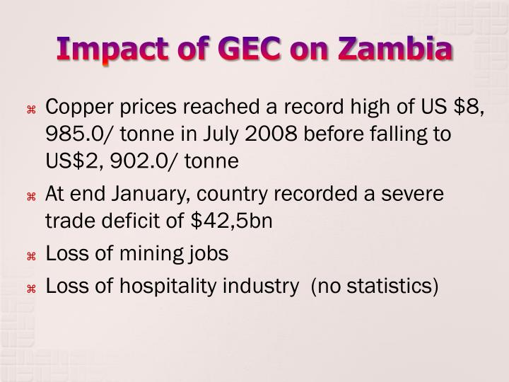 Impact of gec on zambia
