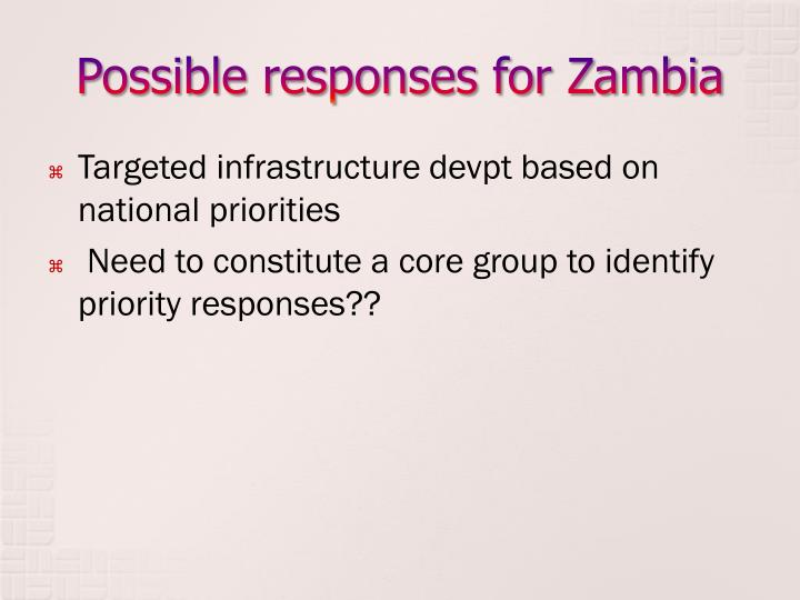 Possible responses for Zambia