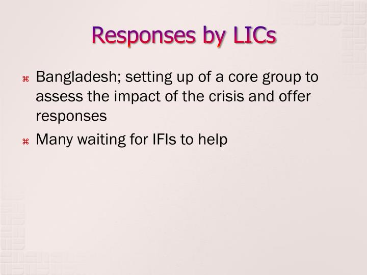 Responses by LICs