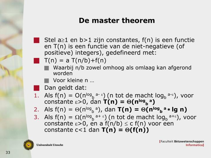 De master theorem