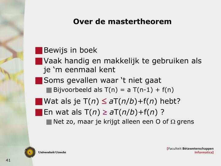 Over de mastertheorem