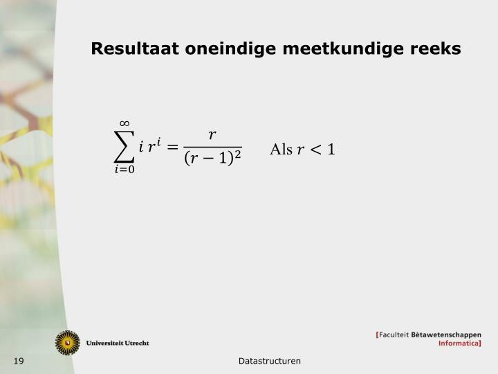 Resultaat oneindige meetkundige reeks