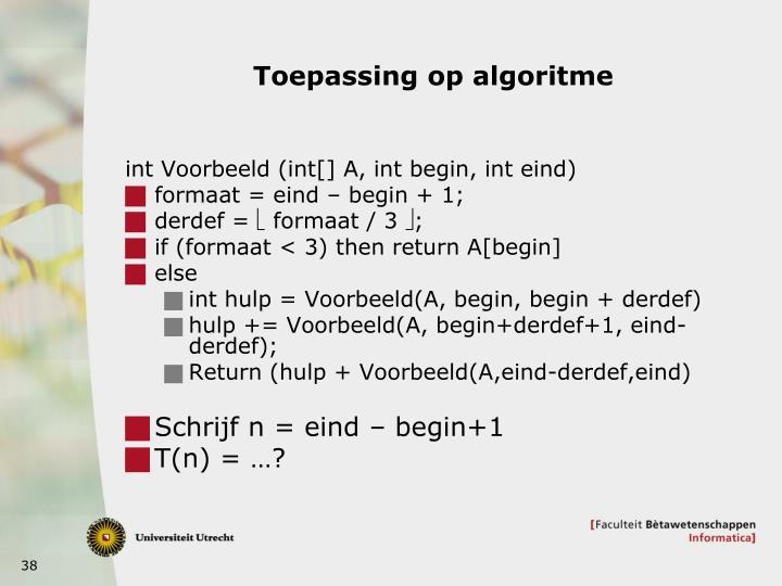 Toepassing op algoritme