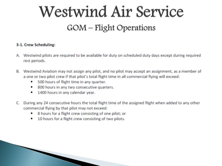 Westwind air service gom flight operations1