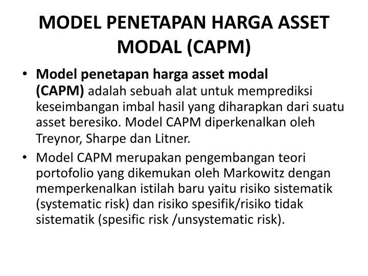 MODEL PENETAPAN HARGA ASSET MODAL(CAPM