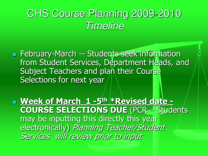 CHS Course Planning 2009-2010