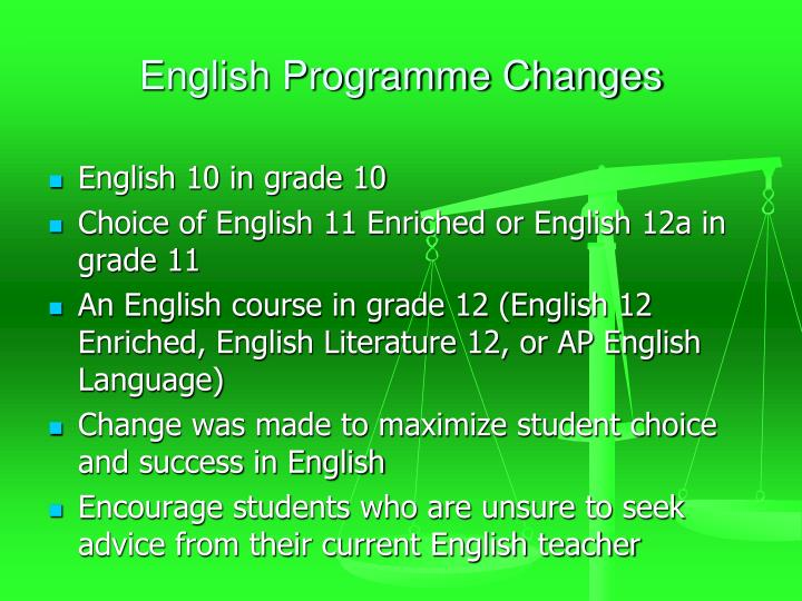 English Programme Changes