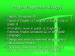 english programme changes