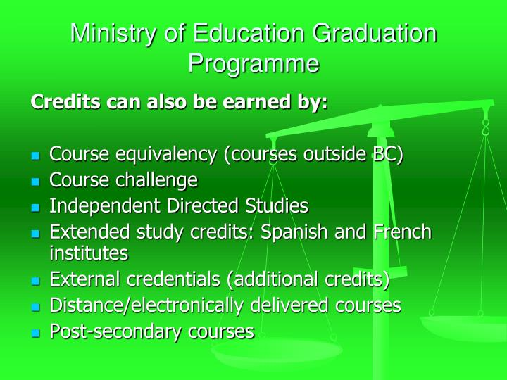 Ministry of Education Graduation Programme