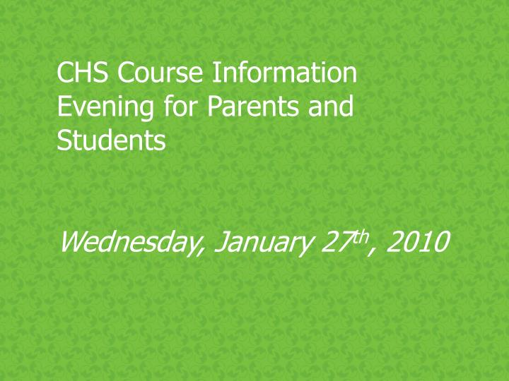 CHS Course Information Evening for Parents and Students