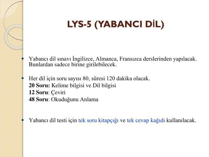 LYS-5 (YABANCI DİL)