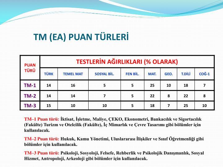 TM (EA) PUAN TÜRLERİ
