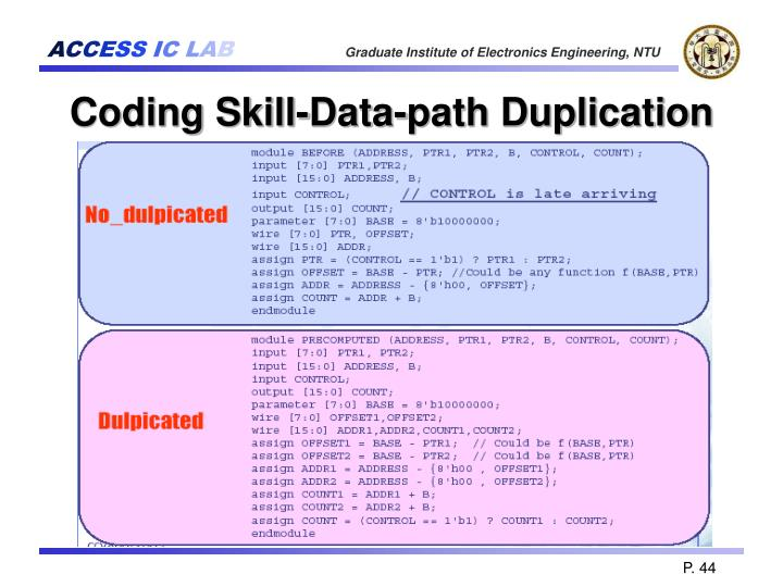 Coding Skill-Data-path Duplication