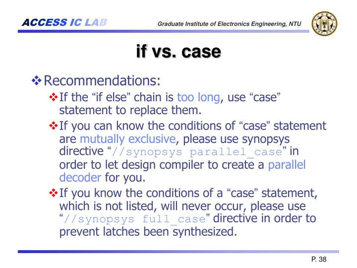 if vs. case