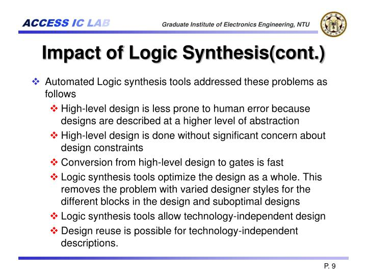 Impact of Logic Synthesis(cont.)