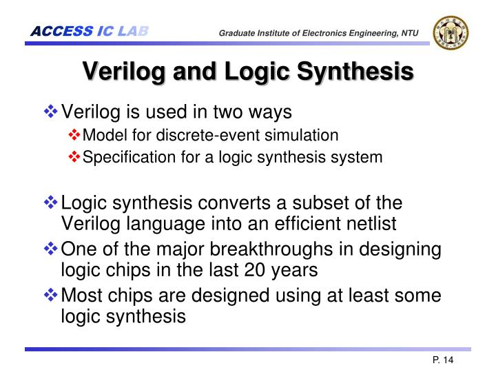 Verilog and Logic Synthesis