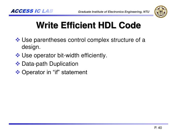 Write Efficient HDL Code