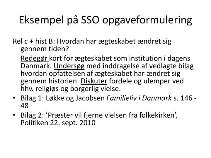 Eksempel på SSO opgaveformulering