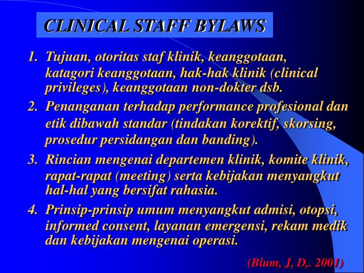 CLINICAL STAFF BYLAWS