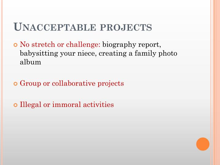 Unacceptable projects