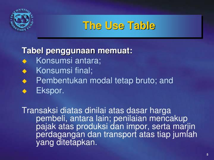 The Use Table