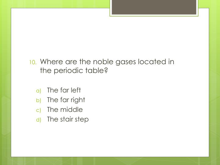 Where are the noble gases located in the periodic table?
