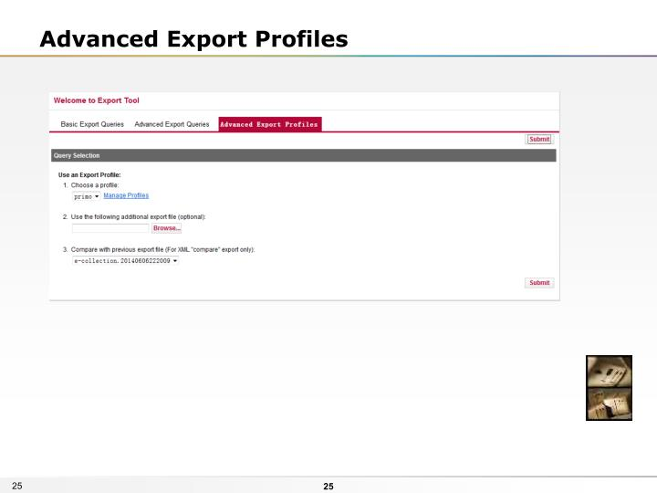 Advanced Export Profiles
